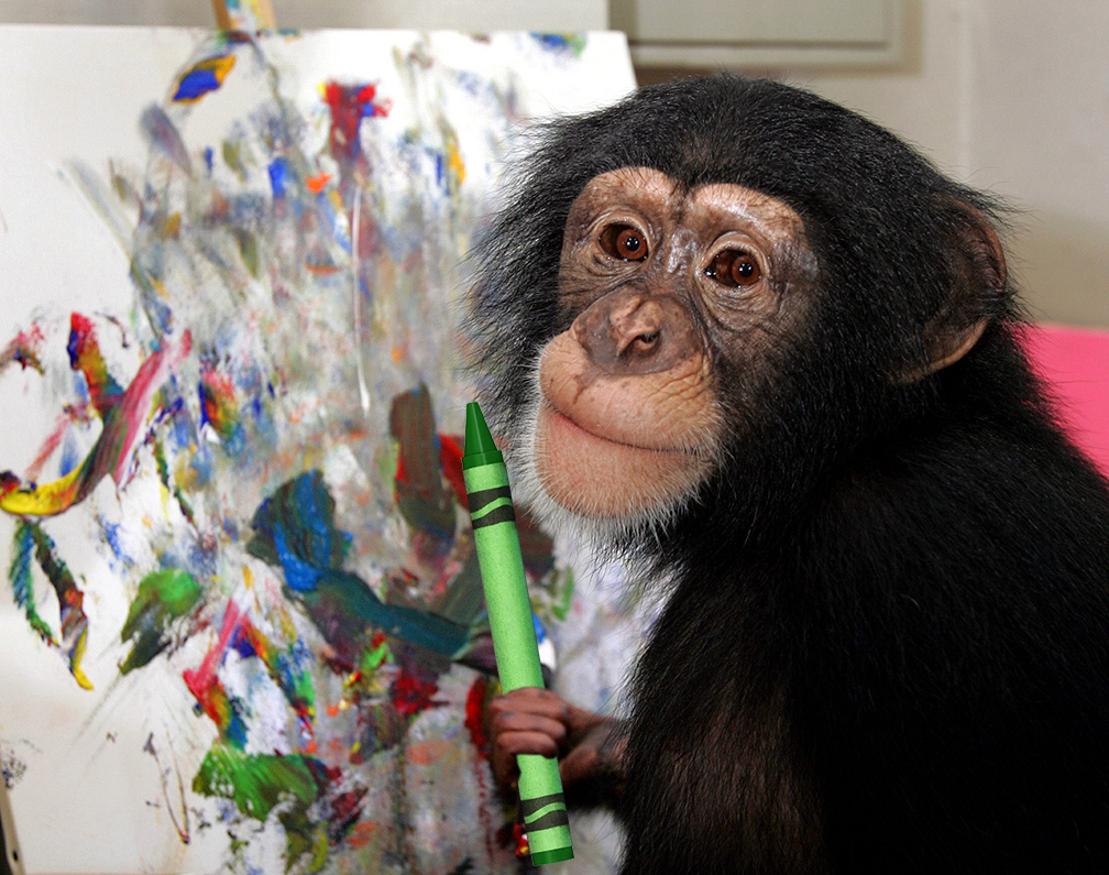 Enough monkeys with enough time will write the complete works of Shakespeare. 1 chimp with a crayon in an afternoon wont.